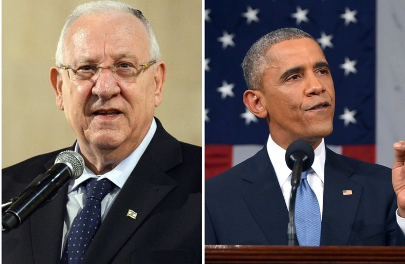 President Reuven Rivlin (L) and US President Barack Obama (photo credit: GPO,REUTERS)