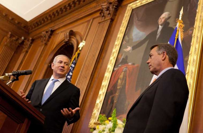Prime Minister Benjamin Netanyahu thanks Speaker Boehner following his address to a joint meeting of Congress in the Rayburn Room of the US Capitol, May 24, 2011 (photo credit: SPEAKER.GOV)
