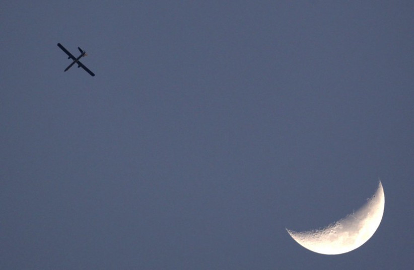 An Israeli air force drone is seen flying over Gaza as seen from the northern Gaza strip border (photo credit: COURTESY MODAN)
