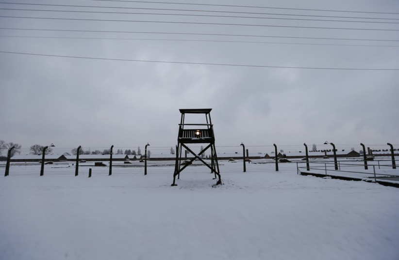 A guard tower is seen at the former German Nazi concentration and extermination camp Auschwitz-Birkena. (photo credit: REUTERS)