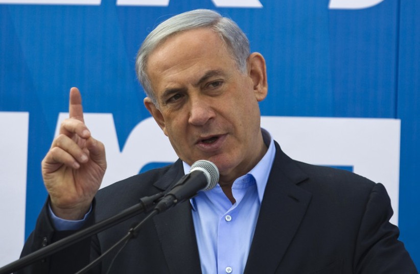 Netanyahu speaks during a cornerstone laying ceremony in Sderot. (photo credit: REUTERS)