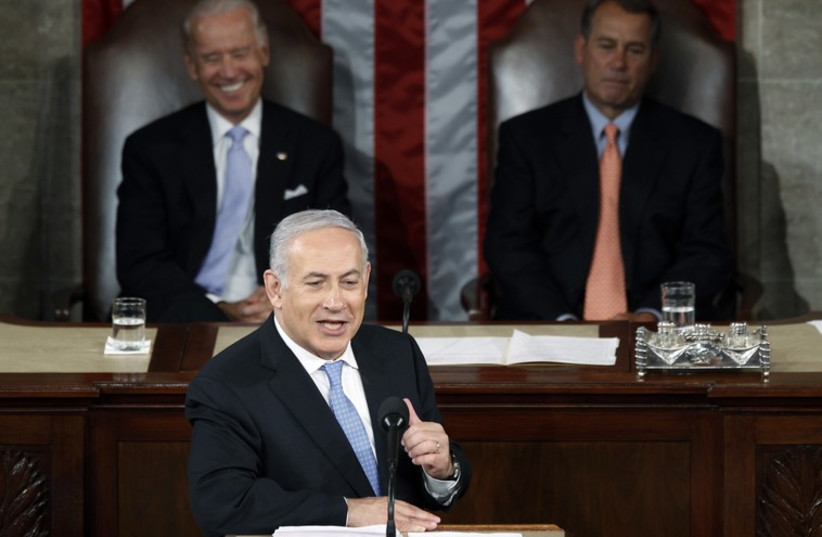 Prime Minister Benjamin Netanyahu addresses US Congress in 2011 (photo credit: REUTERS)