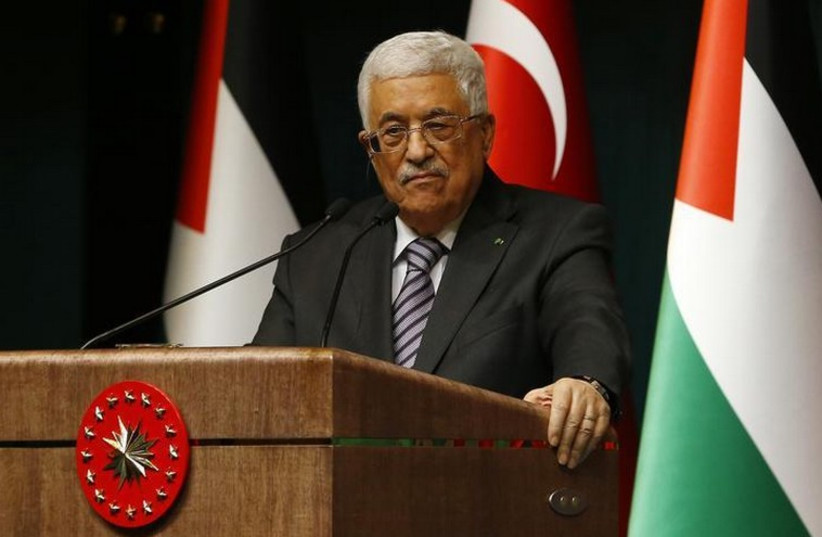 Palestinian Authority President Mahmoud Abbas speaks to the media in Turkey (photo credit: REUTERS)