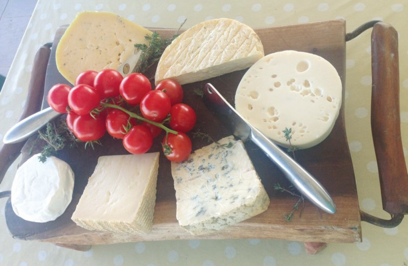 A homemade cheese plate from Be'eri Dairy. (photo credit: MEITAL SHARABI)