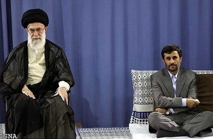 Iranian Supreme Leader Ayatollah Ali Khamenei (left) sits above former president of Iran Mahmoud Ahmadinejad (photo credit: IRANIAN MEDIA)