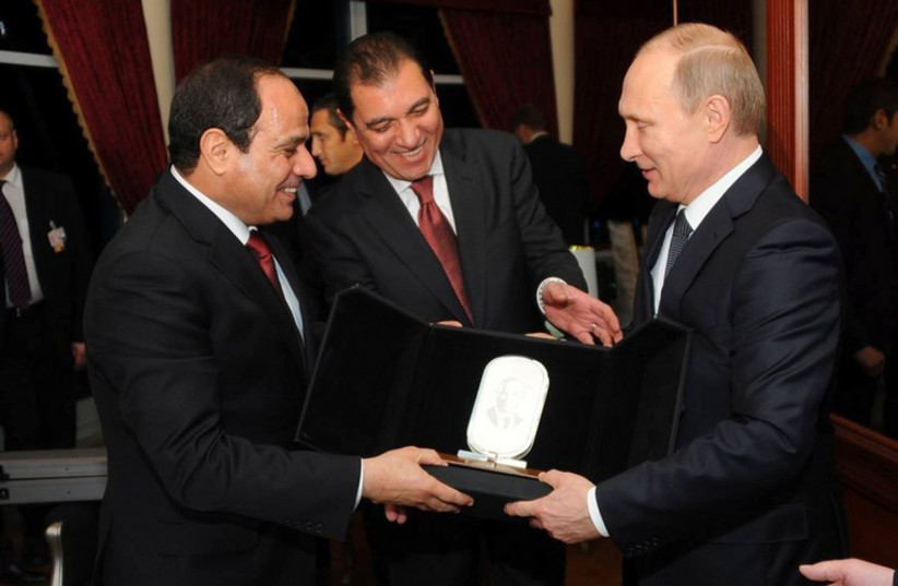 President Sisi and President Putin in Cairo, February 9, 2015  (photo credit: REUTERS)