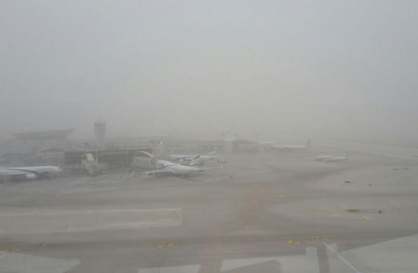 A view of Ben-Gurion Airport as dust storms descend on Israel (photo credit: ISRAEL AIRPORTS AUTHORITY)