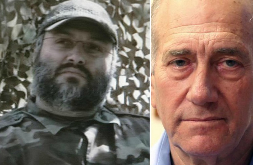 Former prime minister Ehud Olmert (R) and late Hezbollah arch-terrorist Imad Mughniyeh (photo credit: REUTERS)
