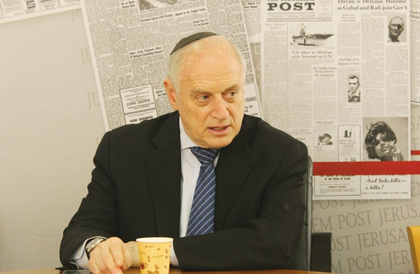 Executive Vice Chairman of the Conference of Presidents of Major American Jewish Organizations, Malcolm Hoenlein, visits the offices of 'The Jerusalem Post.' (photo credit: SAM SOKOL)