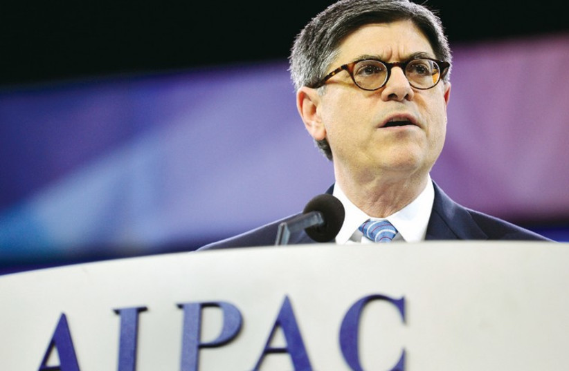 US treasury Secretary Jack Lew addresses AIPAC last year. Characterizing Zionist groups as the nefarious 'Israel lobby' is not new. (photo credit: REUTERS)