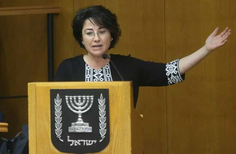 Haneen Zoabi speaks at Central Elections Committee hearing to ban her from running for Knesset (photo credit: MARC ISRAEL SELLEM/THE JERUSALEM POST)