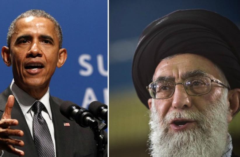 Iran's Supreme Leader Ayatollah Ali Khamenei and US President Barack Obama.  (photo credit: REUTERS)