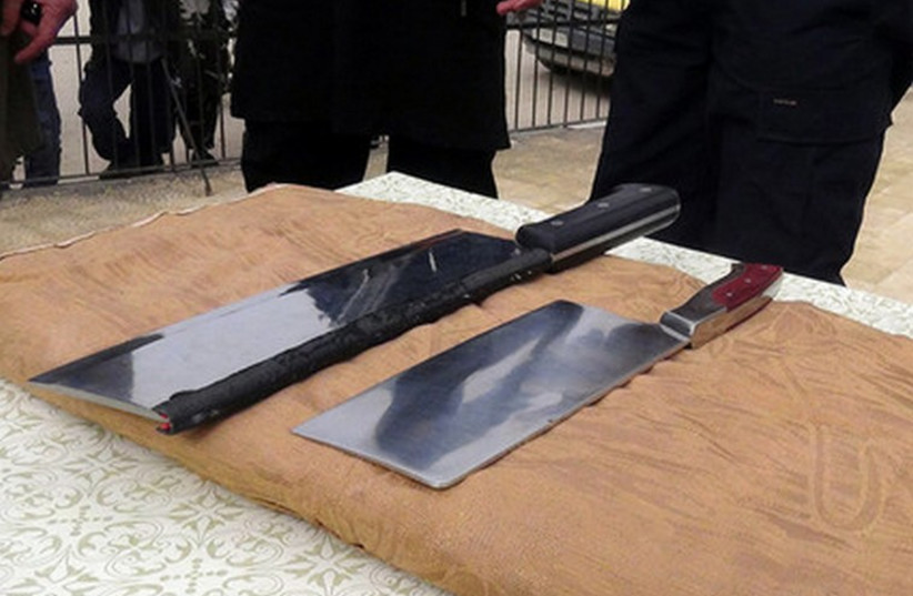 Meat cleavers used by ISIS to amputate hands of convicted thieves (photo credit: TWITTER)