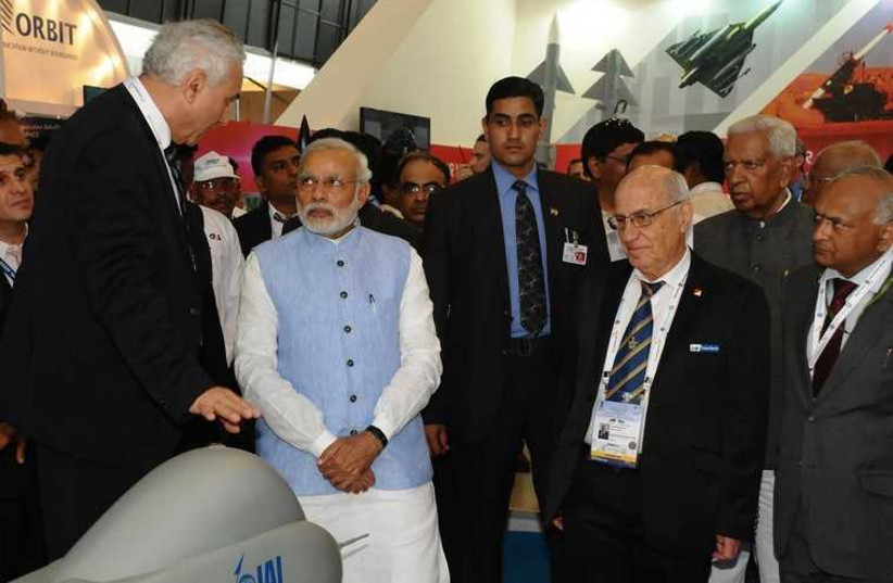 ndian Prime Minister visits an IAI booth at Aero India 2015 exhibitition (photo credit: Courtesy)
