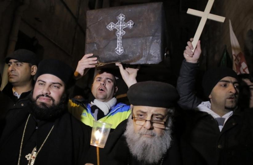 Coptic Christians in Jerusalem (photo credit: REUTERS)