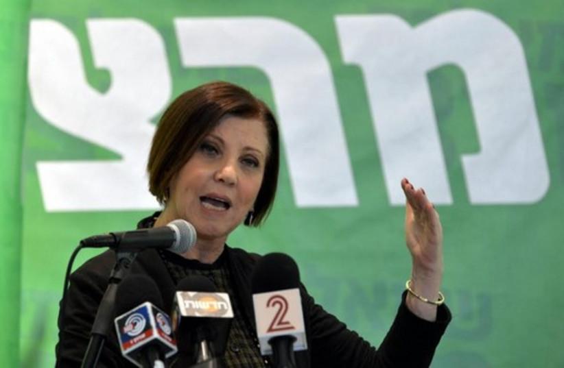 Meretz leader Zehava Gal-On presenting the party's diplomatic platform (photo credit: MERETZ)