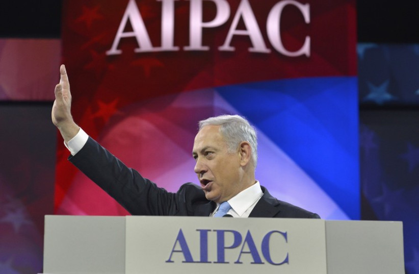 Netanyahu speaks at AIPAC conference (photo credit: REUTERS)