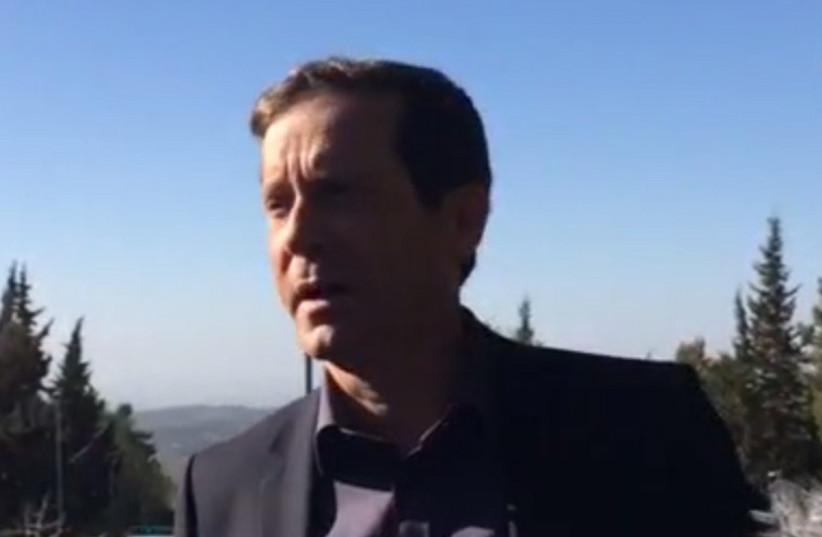 Zionist Union leader Issac Herzog in Gush Etzion (photo credit: screenshot)
