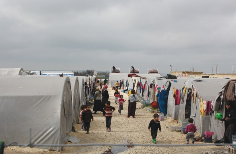 A MAKESHIFT refugee camp in Suruc on the Turkey, Syria border (photo credit: JONATHAN SPYER)
