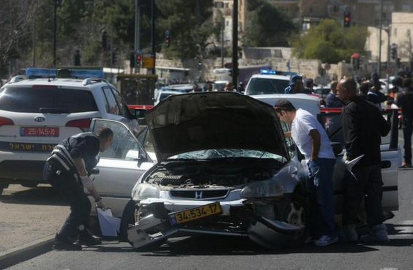 Car ramming attack in Jerusalem, March 6 (photo credit: MARC ISRAEL SELLEM)