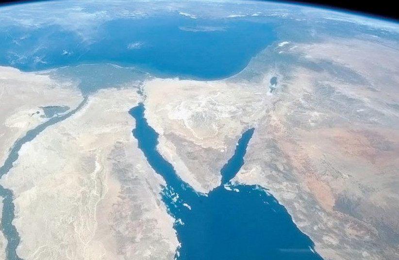 A view of Israel, including the Mediterranean Sea, Red Sea and Suez canal (photo credit: REUTERS)