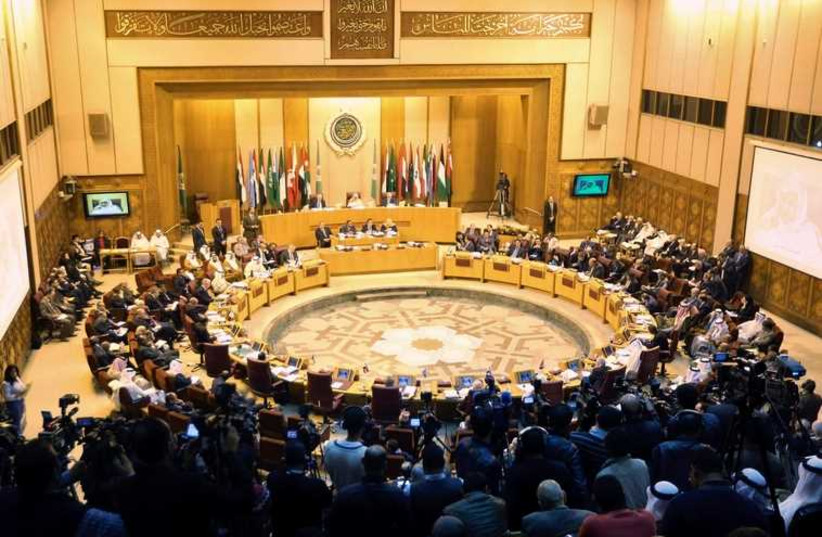 Foreign ministers of the Arab League take part in an emergency meeting at the League's headquarters in Cairo March 9 (photo credit: REUTERS)