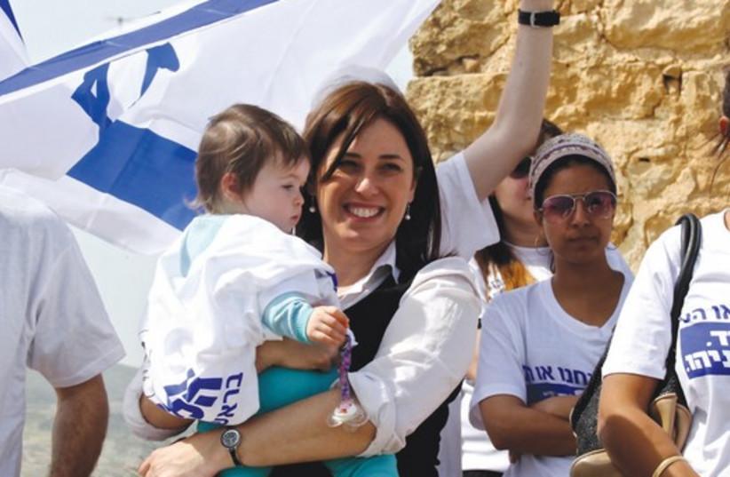 DEPUTY TRANSPORTATION MINISTER Tzipi Hotovely (Likud) campaigns atop Mount Kabir near the Eilon Moreh settlement (photo credit: TOVAH LAZAROFF)