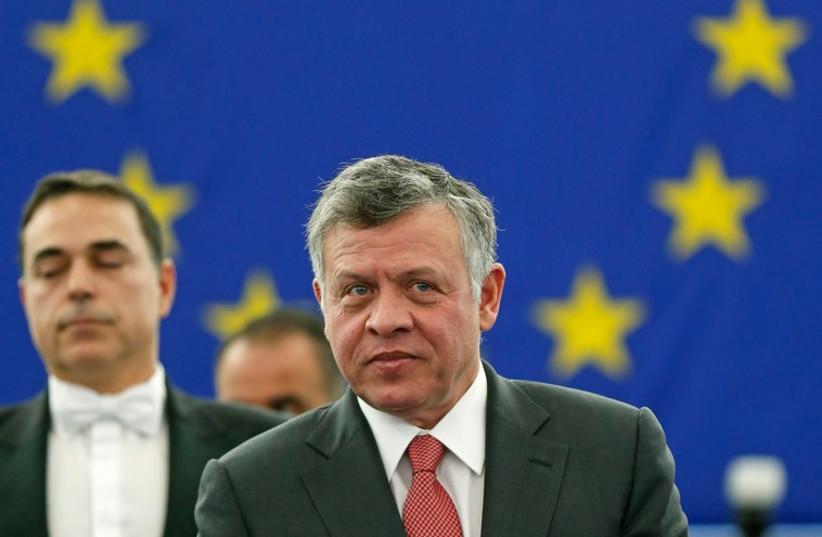Jordan's King Abdullah addresses European Parliament (photo credit: REUTERS)