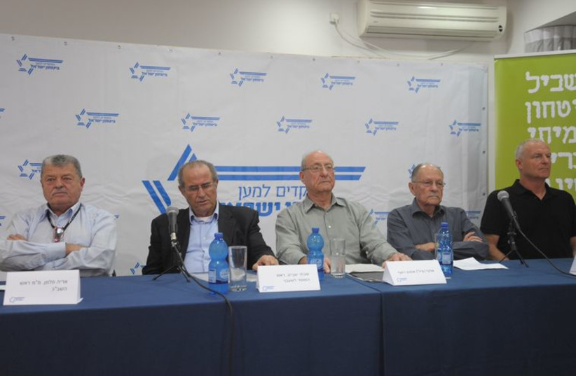 Commanders for Israel's Security hold press conference. (photo credit: AVSHALOM SASSONI)