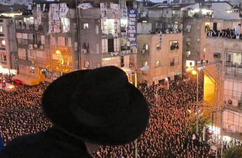 Haredi political rally in Bnei Brak, March 11, 2015 (photo credit: MARC ISRAEL SELLEM)