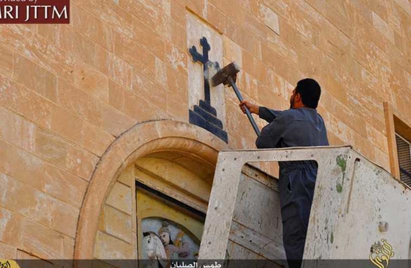 ISIS Vandalizes Churches In Iraq (photo credit: COURTESY MEMRI)