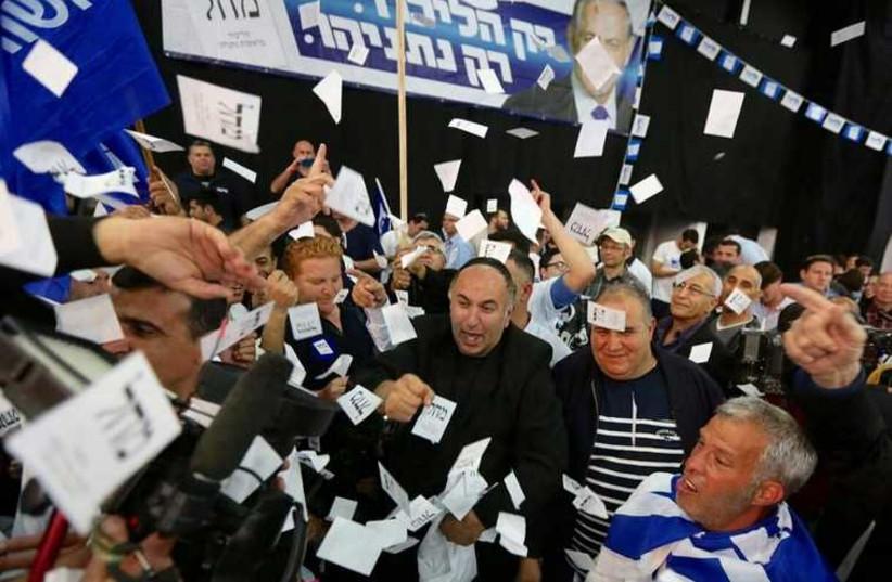 Celebrations at the Likud headquarters in Tel Aviv, March 17, 2015 (photo credit: MARC ISRAEL SELLEM/THE JERUSALEM POST)