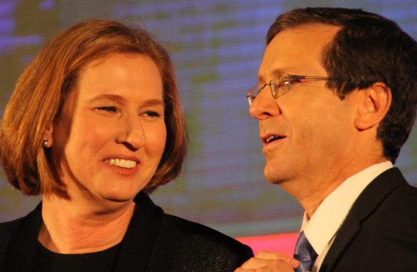 Zionist Union's Isaac Herzog and Tzipi Livni (photo credit: TOVAH LAZAROFF)