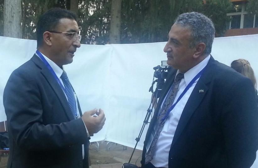 Mendi Safadi (L) meeting with Syrian opposition leader Dr. Kamal Al-Labwani (photo credit: MENDI SAFADI)