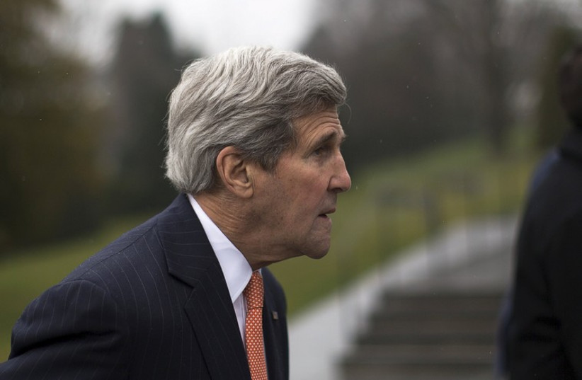 John Kerry in Lausanne, Switzerland, March 21, 2015 (photo credit: REUTERS)