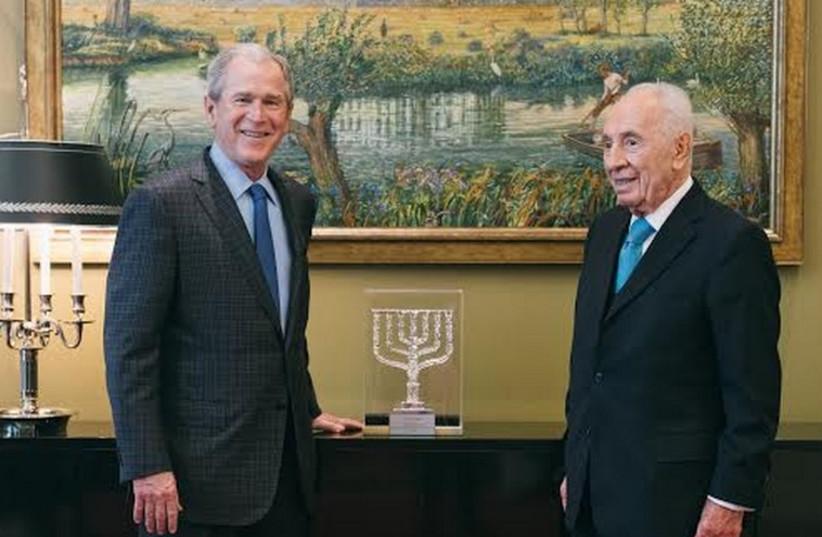 George W, Bush (left) with Shimon Peres (photo credit: PR)