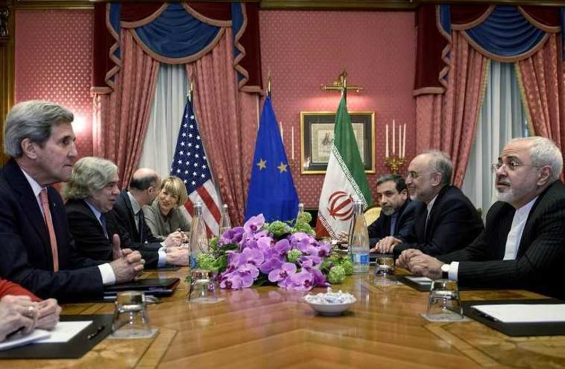 US and Iranian negotiators meet in Lausanne for nuclear talks (photo credit: REUTERS)