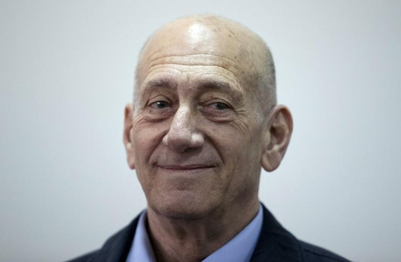 Former Prime Minister Ehud Olmert is seen in Jerusalem District Court (photo credit: REUTERS)