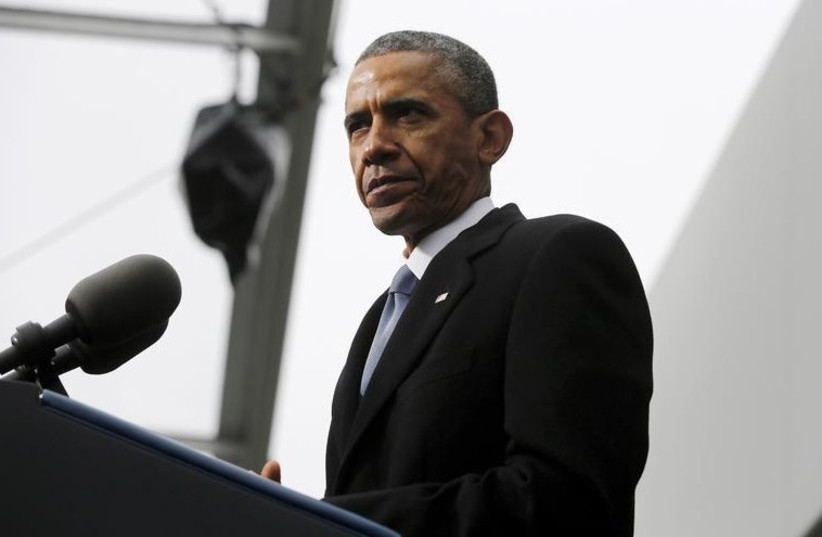 US President Barack Obama pauses during remarks at the dedication ceremony for the Edward M. Kennedy Institute for the United States Senate in Boston (photo credit: REUTERS)