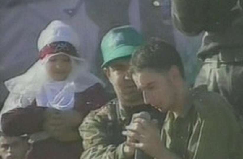 hamas rally mock schalit 248 88 (photo credit: Channel 2)