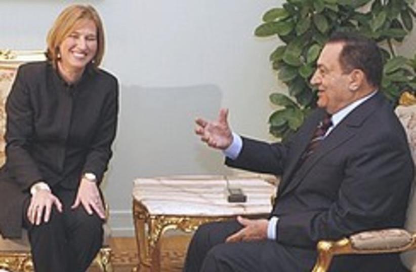 Mubarak meets Livni 248.88 (photo credit: AP)