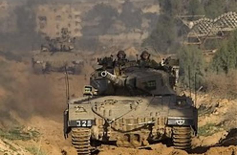 gaza idf tank mud 248 ap (photo credit: AP [file])
