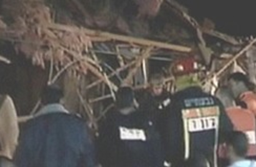 Netivot  house destroyed by rocket 248.8 (photo credit: Channel 2)