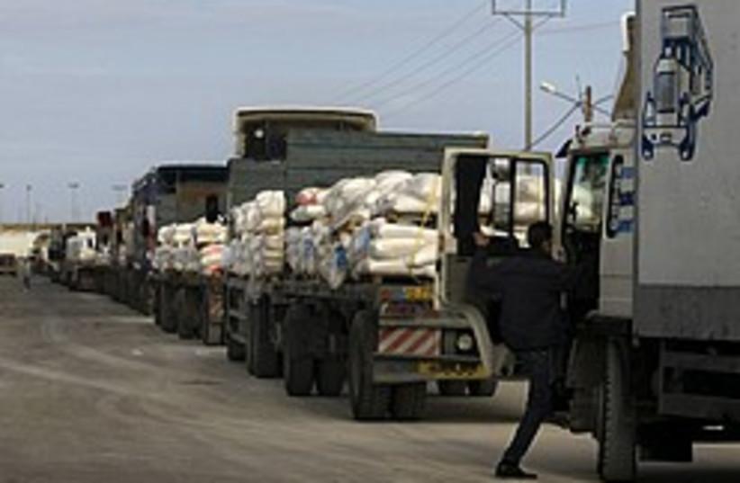 gaza aid trucks kerem shalom 248 88 ap (photo credit: AP)