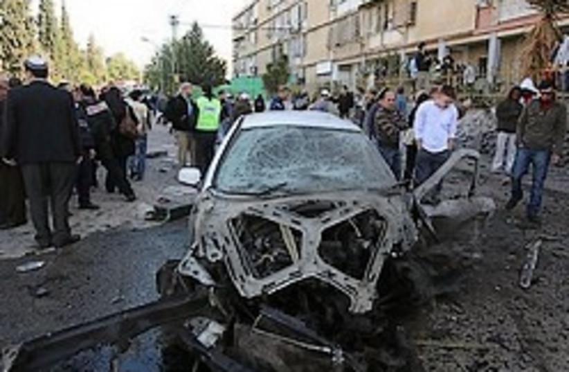 Beersheba car rocket damage 248 ap (photo credit: AP)