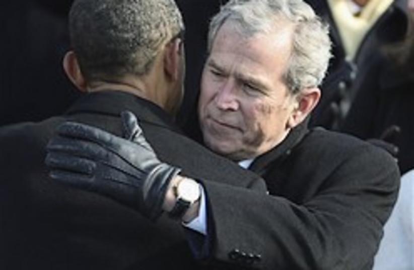 bush hugging obama 248.88 (photo credit: AP)