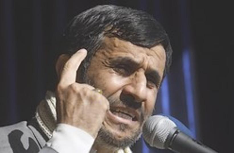 Ahmadinejad finger 248.88 (photo credit: AP)