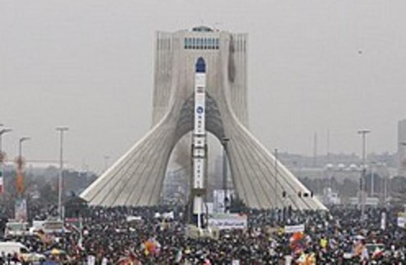 iran model satellite celebration 248 88  (photo credit: AP)