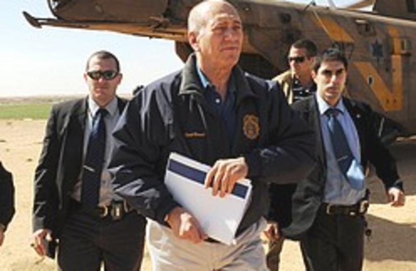 Olmert get off chopper 248.88 (photo credit: GPO)