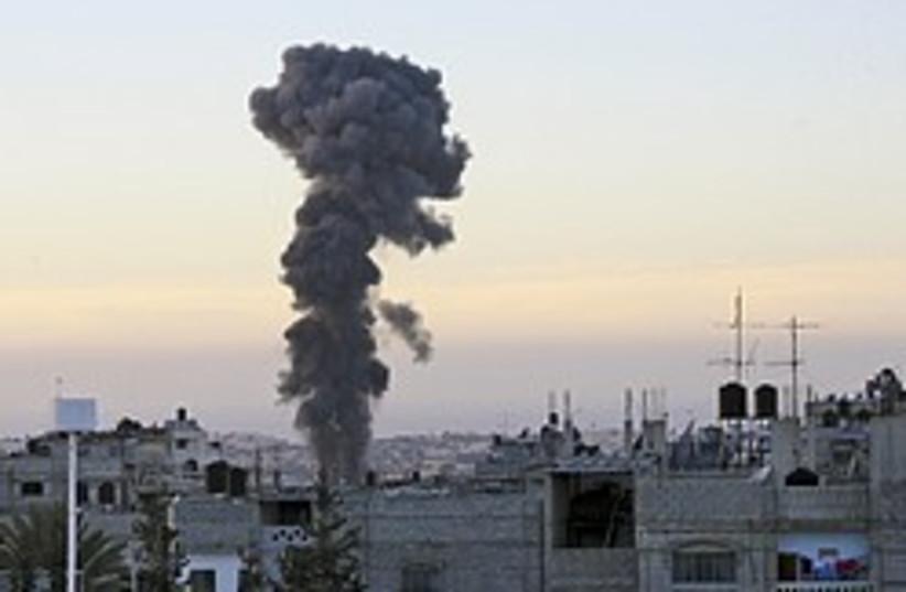 gaza tunnel air strike smoke 248.88 (photo credit: AP [file])